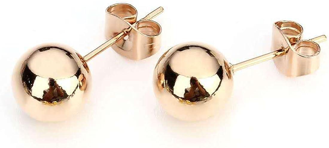 Steel Ball Titanium Steel Earring 4MM Round Ball Stainless Steel Earring Gold Bean Needle Earrings for Girls Students GiftsRose Gold)