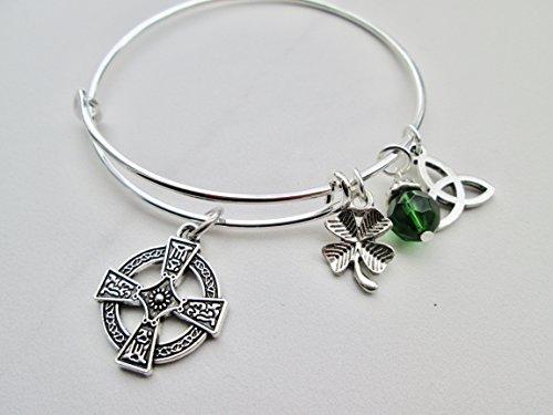 Irish Celtic Cross adjustable bangle bracelet with Shamrock and Celtic Knot Charms