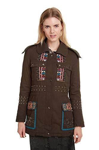 Desigual Damen Coat Lena Mantel, Grün (Verde Botella 4009), (Herstellergröße: 38)