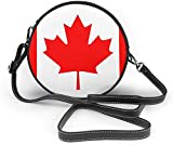 BAODANLA Bolso redondo mujer Canadian Flag Women Soft Leather Round Shoulder Bag Zipper Circle Purses Sling Bag