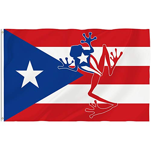 Bonsai Tree 3x5 Feet Puerto Rico Flag - Vivid Color Fade Resistant Double Sided - Frog Flags Polyester Brass Grommets Patriotic Home Decorations