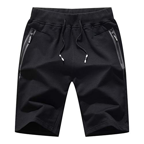 Sunhusing Men's Summer Knitted Sports Shorts Pure Color Cotton Blend Pocket Casual Beach Shorts Black