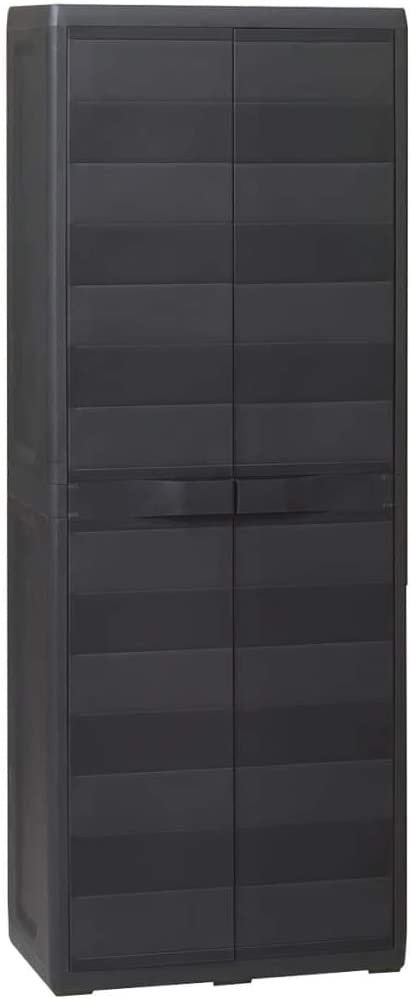 vidaXL Garden Classic Storage Cabinet Recommended with Adjustable Lo 3 Shelves Black