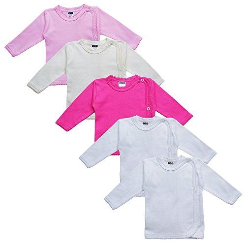 MEA BABY Unisex Baby Wickelshirt Wickeljacke Langarm, 100% Baumwolle im 5er Pack. Wickelshirt für Mädchen, Wickelshirt für Junge (Mädchen, 56)