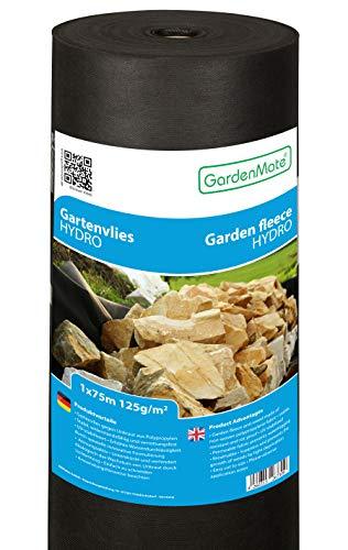 GardenMate 1mx75m Rolle 125g/m² Hydro Premium Gartenvlies mit sehr hoher Wasserdurchlässigkeit - Unkrautvlies Extrem Reißfestes Unkrautschutzvlies - Hohe UV-Stabilisierung - 1mx75m=75m²