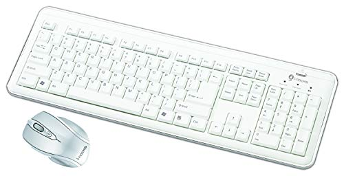 i-Rocks RF-6577L Wireless Keyboard and Mouse Combo, Retro Design, Silent and Slim Profile, Scissor-Structure Key Switches, Nano USB Receiver, 2.4GHz RF Technology Max 33FT Radius - White
