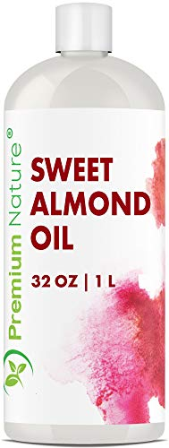 Sweet Almond Oil Carrier Oil - Cold Pressed Pure Natural Body Massage Oils for Essential Oils Mixing, Baby Oil Dry Skin Face Moisturizer Eye Makeup Remover Healthy Nails Packaging May Vary (32 ounce)