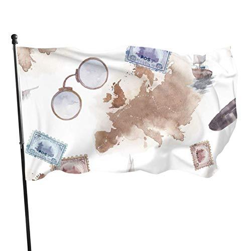GOSMAO Bandera de 3x5 Ft, Mapa de Europa Antigua, yate, Marcas de Poste, Bandera de jardín de Plumas de pájaro, Bandera Decorativa para el hogar, Bandera de Patrulla disuasoria