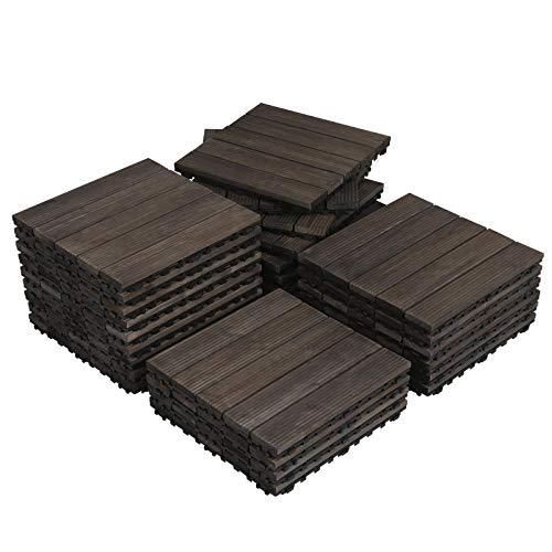 Topeakmart 27PCS Wood Flooring Tiles Interlocking Patio Pavers Deck Tiles Blocks Indoor Outdoor Solid Wood 12 x 12in