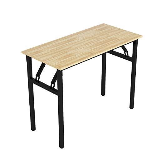 Bespivet Simple Assemble Folding Computer Desk Simple PC Laptop Study Desk for Home Office Writing Table for Adults Kids (100 x 48 cm, Oak black-1)