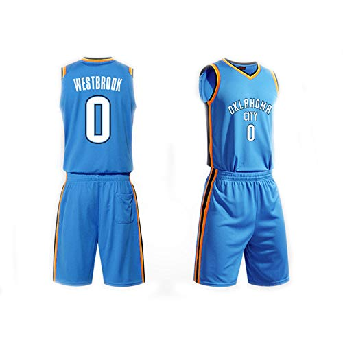 Dear, you Herren Basketball Trikot Set Top+Shorts,Russell Westbrook # 0 NBA Oklahoma City Thunder,New Fabric Sporttrikot Ärmelloses T-Shirt Fans Hemden,Blau,L