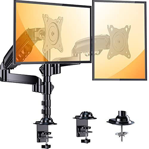 ErGear Dual Monitor Stand, 17 to 32 Inch Monitor Desk Mount, Each Monitor Arm Holds Up to 19.84lbs, Height Adjustable Monitor Mount with C Clamp/Grommet,75/100mm Vesa Mount
