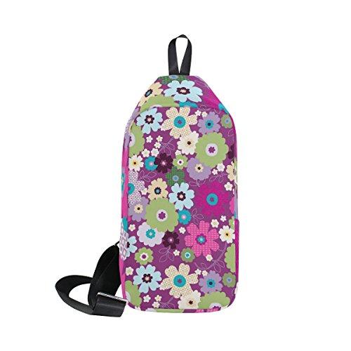 COOSUN pouvoir en violet Floral Sling Sac à bandoulière Coffre Cross Body Sac à dos léger décontracté Sac à dos pour homme femme