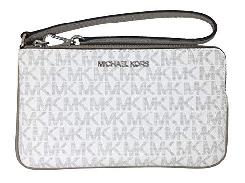 Michael Kors Jet Set Travel Large Top Zip Signature PVC Wristlet Clutch Bright White