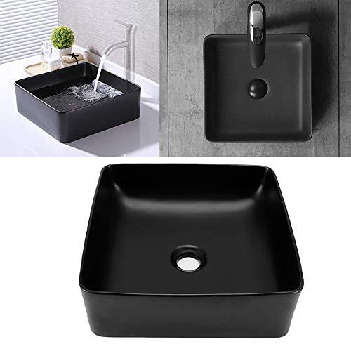 Cerlingwee Badezimmerwaschbecken Quadratisch Schwarz Antistains Waschbecken Keramikbecken 36 X 36 X12.5 CM Antiacidum Waschtisch für Küche Badezimmer