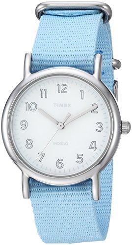 Timex Women's TW2R80600 Weekender 31mm Blue/Silver-Tone Nylon Slip-Thru Strap Watch