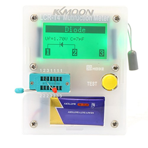 KKMOON 128*64 Pocketable Transistor Tester Capacitance ESR LCR Diode Triode Triac MOS Meter with LCD Backlight
