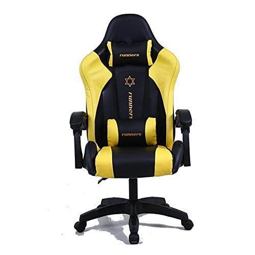 wenyi Silla de juego para computadora ergonómica, cojín y respaldo, puede ser reclinable, juego, silla de oficina ajustable (color: amarillo)