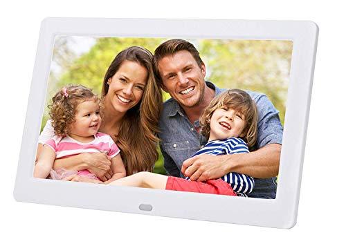 LONGSEA Digitaler Bilderrahmen Full HD 8 Zoll 1280x720 IPS Hochauflösender Foto Musik Video Player Elektronische Album mit Kalenderalarm Auto EIN/Aus Timer und Fernbedienung (Weiß)