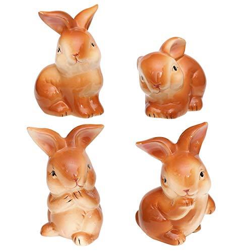 Coniglietto lucido marrone in Set di 4 - circa 11,5 cm