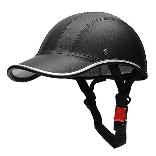 Casco de Moto de Cuero, Casco Cuero de Moto Casco de Béisbol Personalizado Casco de Moto Hombre Casco de Moto Mujer, Casco de Cuero para Vehículo Eléctrico para Moto (Negro)