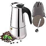 Owoda Caffettiera Italiana, 4 Tazze (200ml), Caffettiera caffè Espresso Acciaio Inossidabile per Piani Cottura a Induzione, a Gas e Vetroceramica per caffè Espresso