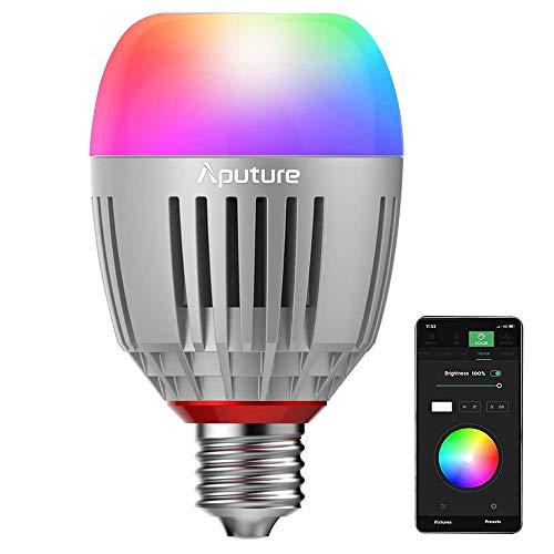 Aputure Accent B7C Smart Led Light Bulbs 7W RGBWW,TLCI 96+ CRI 95+ 2,000K-10,000K Adjustable 0-100% Stepless Dimming CCT/HSI/FX Mode Sidus Link App Control Built-in Battery/AC Power via E26/E27 Socket