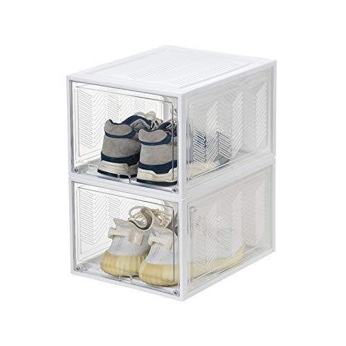 Xgxyklo Caja De Almacenamiento De Zapatos, Frente Abatible Magnético, Organizador De Zapatos De Plástico Apilable, para Ahorrar Espacio, Necesita Ser Ensamblado,Blanco,2 Pack
