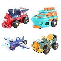 iplusmile 分解のおもちゃセット漫画の車セットボートヘリコプターボートおもちゃ車両少年少女のためのパーティーの好意