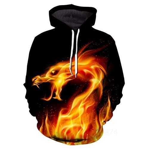 Mr.1991INC&Miss.GO Casual Men's 3D Deer Starry Sky Print Pullover Hooded Sweater Jacket