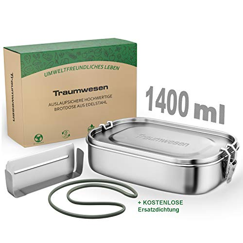 1400ml Dichte Edelstahl Brotdose Auslaufsicher Plastikfrei Lunchbox mit Herausnehmbare und Verschiebbare Trennwand