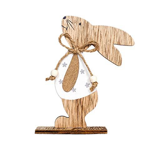YANMODA Ostern Dekoration Dekoration im nordischen Stil - Osterdekorationen aus Holz Kaninchen Formen Ornamente Handwerk Geschenke