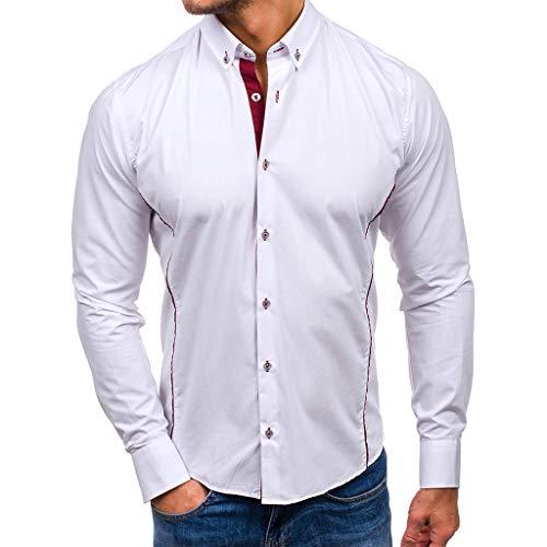 manadlian Chemise Homme T-Shirts à Manches Longues Slim Fit Hauts Élastique et Formelle Tee Shirt Tops Grande Taille Casual Chemises Hiver