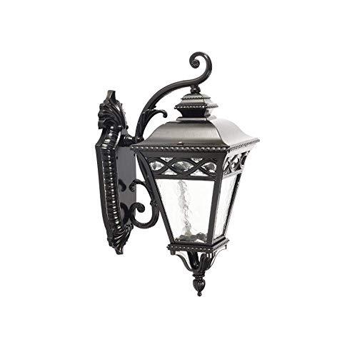 Retro E27 Accesorio de iluminación al revés Europeo al Aire Libre Impermeable Lámpara de Aplique de Pared Negra Almacén Antiguo Balcón Pasillo Granja Patios Luz de Pared de Vidrio Linterna F