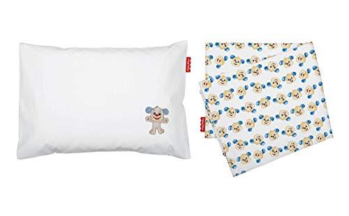 Jogo De Lencol P/Carrinho Fisher-Price Colors Estampado/Liso C/Bordado Pct C/02Pc//Cachorrinho, Fisher-Price, Azul