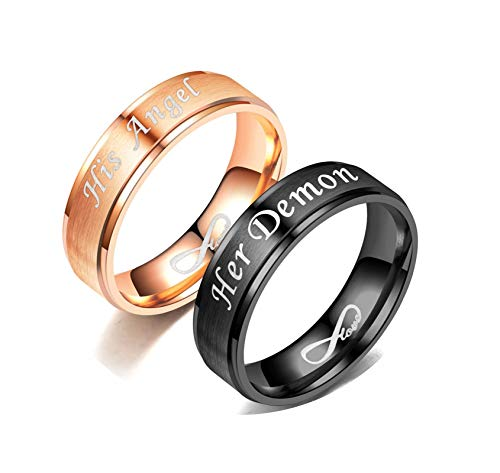 Gnzoe Stainless Steel Couples Ring1 Pair Matte Bands Ring Stepped Edges Engraved Her Demon&His Angel Ring Black Rose Gold Women Size 7 & Men Size 8
