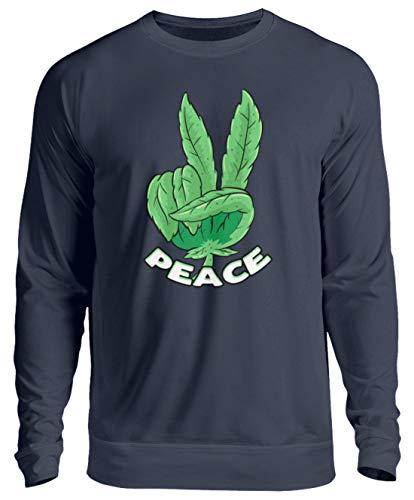 generisch Weed Peace Gras Rauchen Cannabis Blatt Hanf THC Kiffer Sweatshirt Bong - Unisex Pullover -L-Oxford Navy