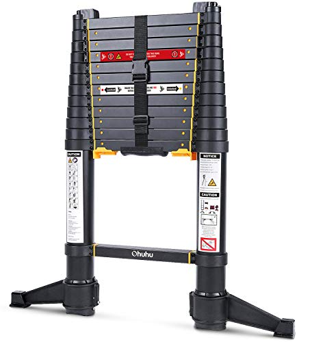 Ohuhu 12.5 FT Premium Aluminum Telescoping Ladder, ONE-Button RETRACTION ANSI Certified Patented Design Extension Ladder, 2020 All New Heavy Duty...