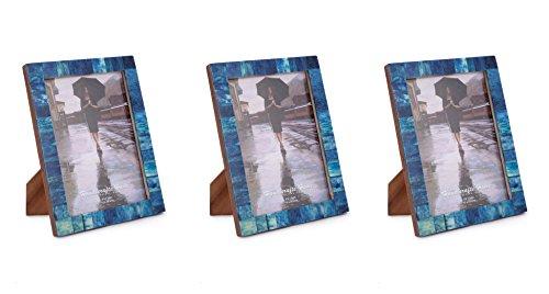 Handicrafts Home - Marcos de fotos (hechos a mano, 12,7 x 17,8 cm, 3 unidades), diseño de hueso azul