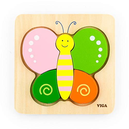 VIGA-50170 VIGA Nuevos Clásicos Juguetes-0521-Mini Puzzle de Madera, Color Mariposa (50170)