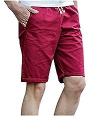 WXZZ Chino shorts voor heren, bermuda, korte broek met koord, regular fit, rechte vrijetijdsbroek, zomerbroek, vijfpuntenbroek met zakken