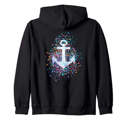 Ancla símbolo, colorido salpicaduras, capitán, marinero, mar Sudadera con Capucha