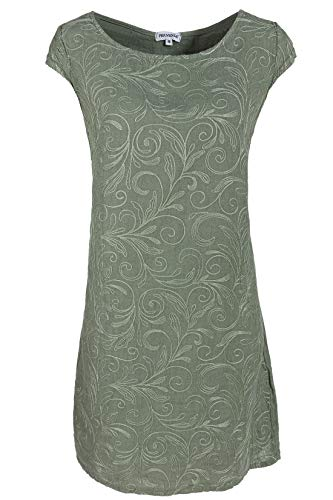 PEKIVESSA Damen Leinenkleid Häkel-Stickerei Sommerkleid Olivgrün 44 (Herstellergröße XXL)