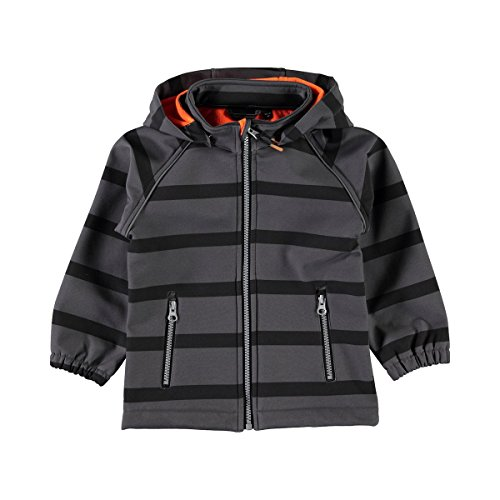 Name It Veste Softshell à Rayures Bloc Veste bébé Veste Enfant, Dark Grey Melange