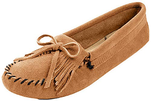 Minnetonka Women's Kilty Suede Softsole Moccasin,Taupe,9 M US