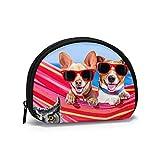 Deux Chihuahua sur hamac Voyage Shell Sacs de Rangement pour cosmétiques Sacs de Toilette Portables Petit Porte-Monnaie Portefeuille Sac de Monnaie