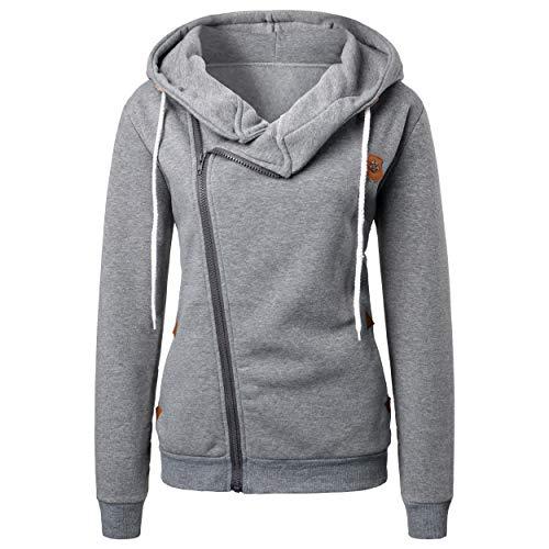 BUOYDM Cappotto Donna Cappotti con Cappuccio Casual Felpa Sweatshirt Invernale Hoodies Giacche Outwear Grigio XL