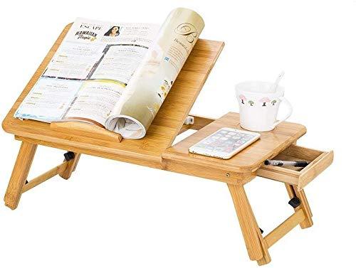 Laptoptisch Bambus Höhenverstellbarer Lesetisch Schreibtisch Esstisch mit Schublade Rutschfester Betttisch LaptoptablettKnietisch Computertisch für Sofa Bett Boden Lesen Arbeiten Frühstück