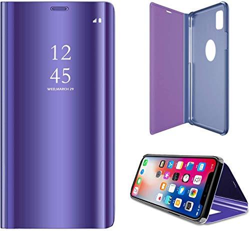 SevenPanda para iPhone 8 Phone Case Metal, iPhone 7 Case 4.7' Stand, Flip Mirror Luxury Funda Transparente Funda para Móvil Smart Sleep/Wake Function Ultra Caso - Morado Oscuro