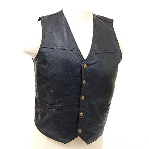 Giovanni Navarre GFV Black 4XL Giovanni NavarreTM Italian StoneTM Design Leather Vest 4X